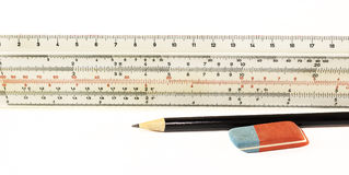 Ruler pencil and eraser Royalty Free Stock Image