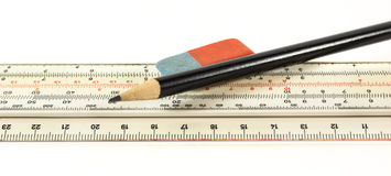 Ruler pencil and eraser Royalty Free Stock Photography