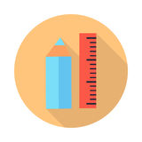 Ruler and Pencil Icons with Shadow Isolated Stock Photography