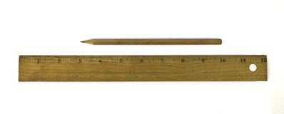 Ruler and pencil isolated Royalty Free Stock Photo