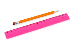 Ruler and pencil Royalty Free Stock Images