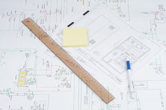 Ruler, pencil and notes on blueprint. Stock Photos