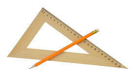 Ruler and pencil. Stock Photos