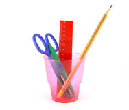 Ruler, pencil and scissors Royalty Free Stock Photo