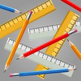 Ruler and pencil set Royalty Free Stock Photography
