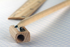 Ruler, pencil and sharpener Royalty Free Stock Photos