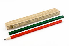 Ruler and pencils Royalty Free Stock Images