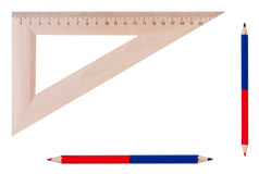 Ruler and pencils isolated. Stock Photography