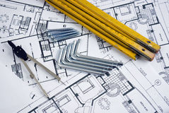 Ruler with plans Stock Images