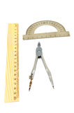The ruler, protractor and compass Royalty Free Stock Images