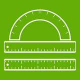 Ruler and protractor icon green Stock Photos