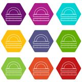 Ruler and protractor icon set color hexahedron Royalty Free Stock Image