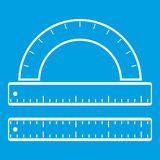 Ruler and protractor icon white Royalty Free Stock Photography