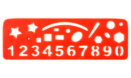 Ruler with shapes and numbers Royalty Free Stock Photo