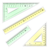 Ruler And Triangles Vector. Centimeter And Inch. Simple School Measurement Tool Equipment Illustration  On White. Background. Several Instruments Variants Royalty Free Stock Photography