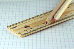 Ruler and two pencils Royalty Free Stock Photo