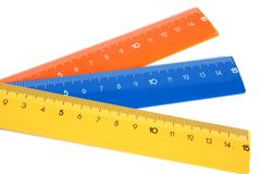 Rulers. Colour rulers isolated on the white background Stock Photo