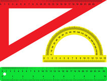 Rulers. There are protractor and rulers Royalty Free Stock Photography