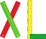 Rulers. There are four coloured rulers Royalty Free Stock Image