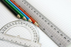 Rulers And Color Pencil Royalty Free Stock Photos