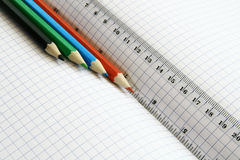 Rulers and color pencil Royalty Free Stock Image