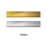 Rulers. Double ruler. gold and silver color Royalty Free Stock Photo