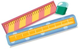 Rulers and eraser. Illustration of isolated rulers and eraser on white background Royalty Free Stock Image