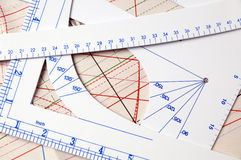 Rulers and pattern for designing clothes. Rulers and pattern used for drawing when designing clothes Royalty Free Stock Photo