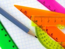 Rulers and pencil Royalty Free Stock Photography