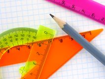 Rulers and pencil Royalty Free Stock Image