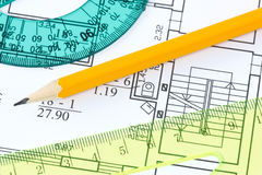 Rulers and pencil on architectural  blueprint Royalty Free Stock Photo