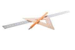 Rulers and a pencil Royalty Free Stock Photography