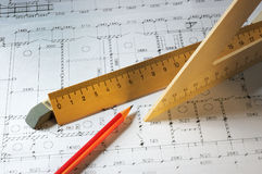 Rulers and plans Royalty Free Stock Photos