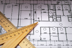 Rulers and plans Royalty Free Stock Image