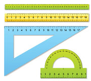 Rulers and protractor Stock Photos