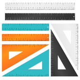 Rulers and triangle with inches, centimeters millimeters scale. Vector set Stock Photo