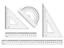 Rulers, triangles, protractor. Vector instruments  on wh Stock Photo
