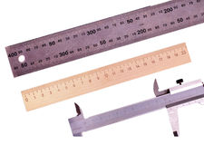 Rulers and Vernier caliper Royalty Free Stock Image