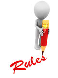 Rules. Little 3d man writing down the rules over white background with a red pencil, concept of rules and conditions to abide by Royalty Free Stock Photo