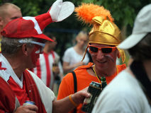 Rules of behavior of fans - opponents before the match. Be friendly, but do not fight Royalty Free Stock Photos