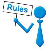 Rules Blue Human Holding Signboard Stock Photos