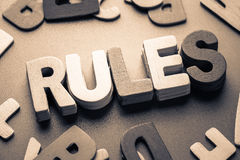 Rules. Closeup stack wood letters of RULES word Stock Photos