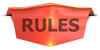 Banner rules. Rules 3D rendered red banner , isolated on white background Royalty Free Stock Photo