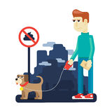 Rules dog walking in the big city Stock Photography
