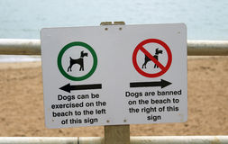 Rules for dogs on the beach sign. Sign explaining where dogs are allowed or banned on the beach Stock Photo