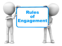 Rules of engagement. Words over white background, on a board held up by little 3d men Stock Photo