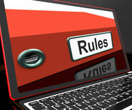 Rules File On Laptop Showing Policies Royalty Free Stock Photos