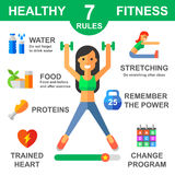 Rules of healthy lifestyle stock illustration