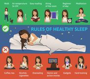 Rules of healthy Sleep. Vector Infographics Illustration. Cute Girl sleeping on the Bed. Useful tips for a good night`s. Rules of healthy Sleep. Vector Royalty Free Stock Image