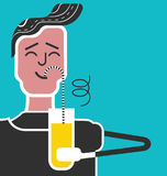 Rules for kids. Good manners and etiquette.Slurping. Table manners.Boy drinks juice with pleasure. Funny flat vector style. Funny man with sweaty armpit Royalty Free Illustration